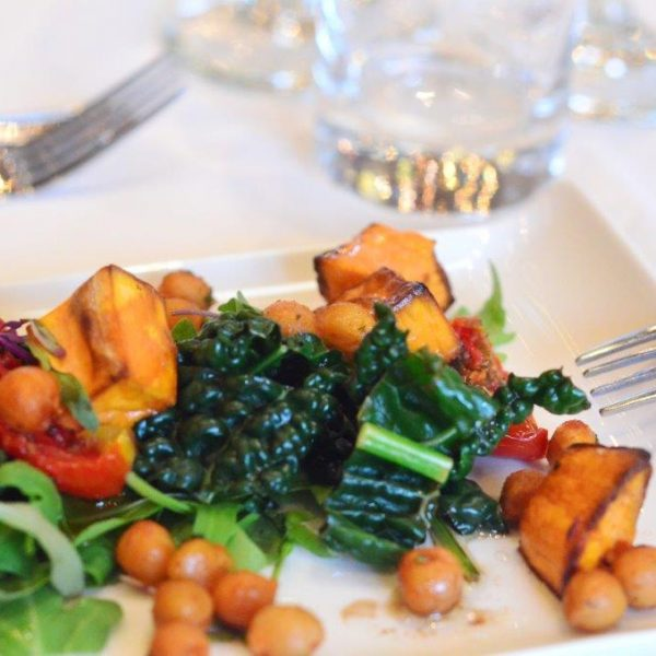 Fine dining Sweet Potatoes with Chick Peas and Kale